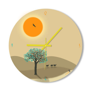 Wall Clock Sunset Desert Camel Clock Home Decoration Wall Art Pastel Colored Living Room Office Clock Surreal Simple Modern Clock