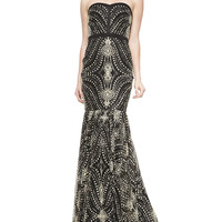 Women's Strapless Beaded-Pattern Mermaid Gown - Badgley Mischka Collection - Black/Gold