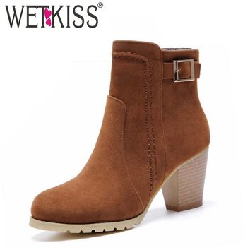 WETKISS Women Boots Buckle Strap Ankle Boots Thick High Heels Platform Shoes Woman Spring Winter Boots Women's Shoes Size 32-43