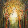 Forest painting abstract art trees landscape marems 36 inches modern | LaurenMarems - Painting on ArtFire