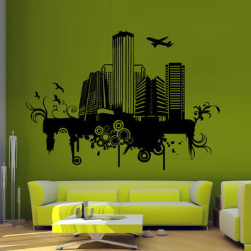 Wall decal decor decals art sticker NY city map New York America Mural plane inscription letter word bedroom (m1245)