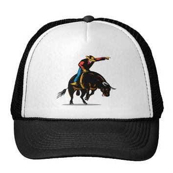 Rodeo cowboy bull riding trucker hat