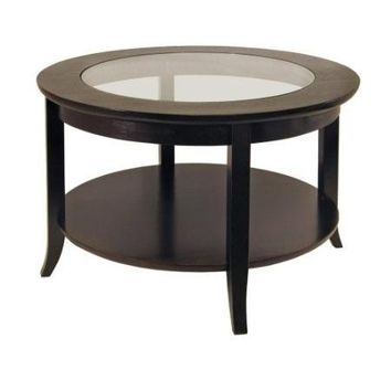 Circular Round Espresso Finish Coffee Table with Glass Inset