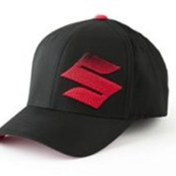 "Suzuki ""S"" Logo 3D Gradiation Embroidered Flexfit Hat Black & Red Large/XLarge"