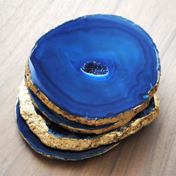 Gold Rimmed Agate Coasters - Set of Four, Blue Agate Coasters