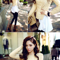 Side Slit Crochet Knit Top - I know you wanna kiss me. Thank you for visiting CHUU.