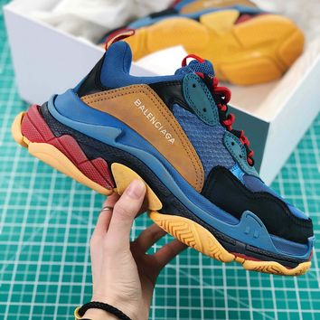 Balenciaga Triple S Trainers Sneaker Blue Oversized Multimaterial Sneakers With Quilted Effect Sale