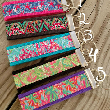 Lilly Pulitzer inspired Key Chain/ Key Fobs The perfect Christmas stocking stuffer