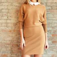 Marna Sweater Dress with Collar - Camel