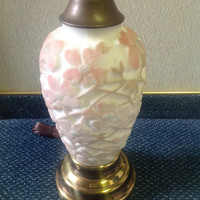 Antique Phoenix Art Consolidated Glass Vase Table Lamp Dogwood Flower Pattern