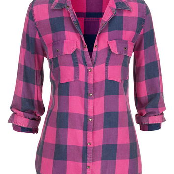 plaid button down shirt in hot pink