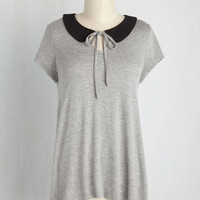 A Place to Collar Home Top in Grey | Mod Retro Vintage Short Sleeve Shirts | ModCloth.com