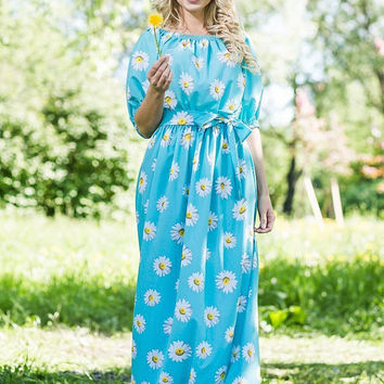 "Floral Light Blue Maxi Dress ""SummerColor"" 100% Viscose  /  High Quality Designer summer dress, plus size maxi dress, summer 2015"