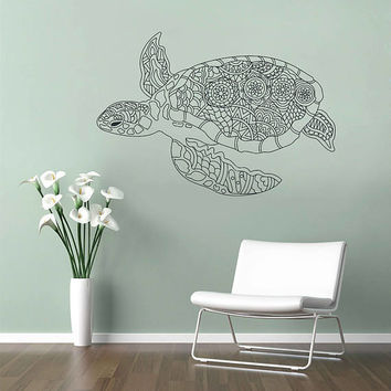 kik3188 Wall Decal Sticker Zentangle Style Turtle sea bedroom living room