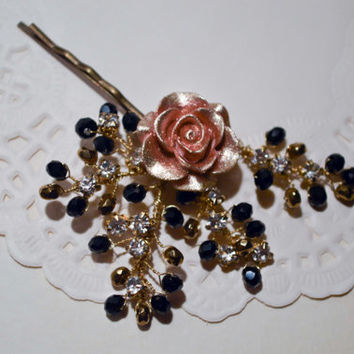 Bobby pin. Hair Accessories. Rose gold flower pin. Old Hollywood Glamour.