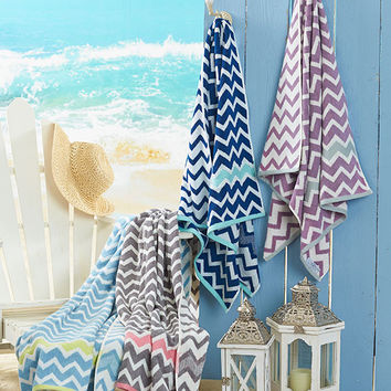 "Reversible Cotton Chevron Beach Towel Bath Sheet Large 27"" x 54"" Ultra Absorbent"