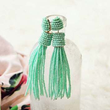 Sloane Tassel Earrings in Mint