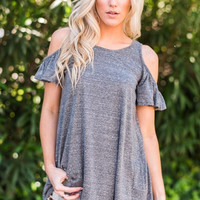 Cold Shoulder Black Ruffle Tunic