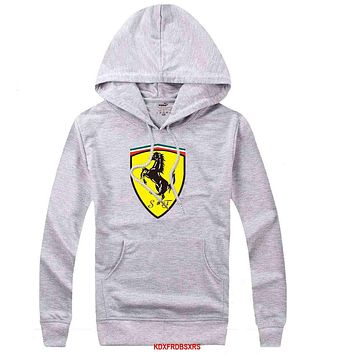 Ferrari Women Men Casual Long Sleeve Top Sweater Hoodie Pullover  Sweatshirt