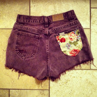High waisted denim burgundy shorts