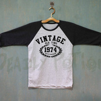 Aged To Perfection Shirt Vintage 1974 Shirt Baseball Raglan Shirt Tee TShirt Unisex - Size S M L XL