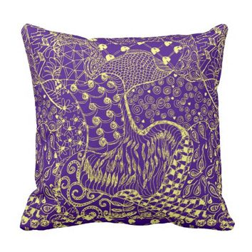 Zentangle designed Pillow in Purple and Gold Color