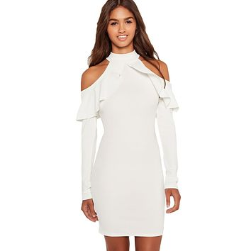 White Frill Cold Shoulder Long Sleeve Dress