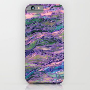 MARBLE IDEA! LAVENDER PINK PEACH Abstract Watercolor Painting Colorful Geological Nature Marbled Art iPhone & iPod Case by EbiEmporium
