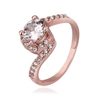 Crystal Chanel Prong Bypass 18K Rose Gold Plated Ring