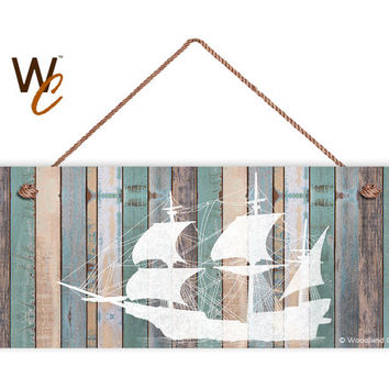 "Ship Sign, Beach Weathered Wood, Weatherproof, 6""x14"", Rustic Signs, Housewarming Gift, Under The Sea Sign, Made to Order"