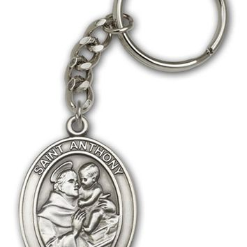 Antique Silver St. Anthony Keychain, Patron Saint of Lost Articles & the Poor