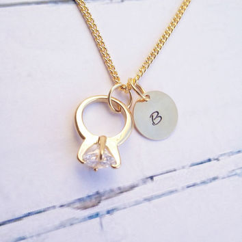 Gold Initial Necklace - A Disc with a mini Engagement Ring - Personalized Jewelry - Gold Plated Jewelry - Engagement Gift