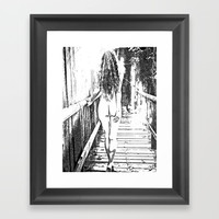 Girl at the bridge, sexy nude woman outdoors, erotic under waterfall, adult black and white artwork Framed Art Print by hmdesignspl