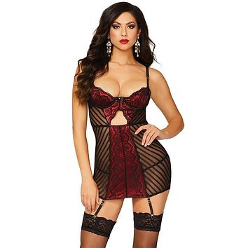 Sexy Kylie Satin, Lace and Mesh Gartered Chemise with Thong
