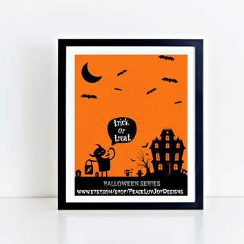 Halloween Print,  Trick or Treat,  8x10,  Holiday Art, Fall Print, Autumn Decor, Home Print, Instant Download, Trick or Treat Printable