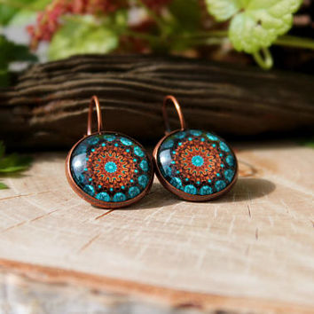 Brown And Turquoise Kaleidoscope Earrings, Antique Copper, Glass Dome Earrings, Valentine's Day Gift