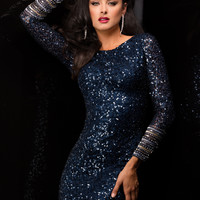 Scala 48356 - Navy Long Sleeve Sequin Short Homecoming Dresses Online
