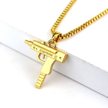 HCXX Fashion Hip Hop Jewelry Engraved Letter Gun Necklace 65cm Long Chain Supreme Quality Pendant Necklaces HipHop For Men Women Gift
