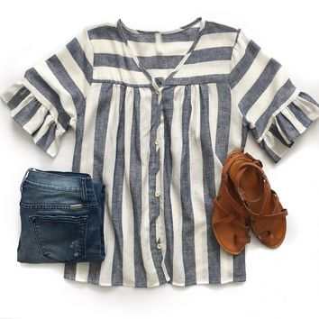 Blue Striped Button Down Linen Top