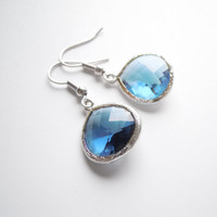 Deep Blue Silver Framed Glass Earrings