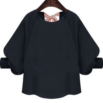 Navy Bow Back Bishop Sleeve Cropped Blouse