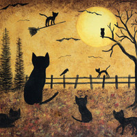 Folk Art Halloween Card - Black Cat and Kittens on Halloween - Custom 5 x 7 Greeting Card or Blank Card -Choose Your Own Inside Message