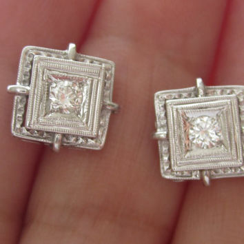 Vintage Art Deco Diamond Stud earrings 14k white Gold Gold Screw On Backs Threaded Posts