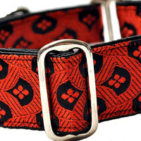 Red and Black Brocade Martingale Collar (1.5 Inch), Greyhound Collar, Whippet Collar, Custom Dog Collar, Custom Martingale