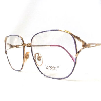 vintage 1980's le star eyeglasses NOS thin gold metal frames purple womens retro modern eye glasses accessories accessory clear prescription