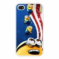 Despicable Me Pretty Interesting American Flag Background Minion Fashion Design High Quality Hard Case Cover Skin Protector for Iphone 4 4s Iphone4 At&t Sprint Verizon Retail Packing (Whitepc+pearlescent Aluminum) Oksobuy-0220