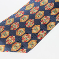 Vintage Lord & Taylor Mens Necktie Pure Silk, Navy Gold Red Green Pattern, Gift for Him Formal Attire High Fashion Holiday Tie Made In Italy