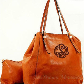 Monogrammed Tan Brown Hobo Handbag - 2 in 1 Bag - Personalized Convertible Purse - Monogrammed Crossbody Pocketbook - Monogram Tote