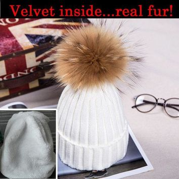 PEAPUNT High quality mink fur hats Pom poms winter hat for women plus velvet caps knitted beanies brand new thick bonnet femme