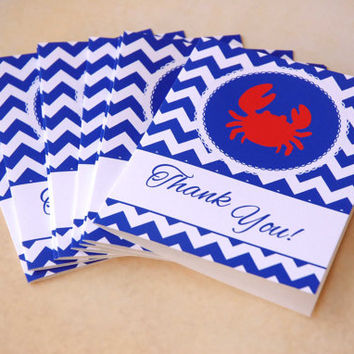30 Nautical Baby Shower Thank You Cards + Envelopes, Blank Inside, Chevron Thank You Notes, for Baby Boy, Crab